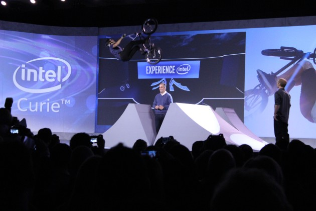 A BMX biker with an embedded Intel chip on his bike flies over Intel CEO Brian Krzanich at the company's CES keynote in Las Vegas earlier this month.