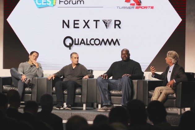 Dallas Mavericks owner and active entrepreneur Mark Cuban; Intel CEO Brian Krzanich; former NBA superstar O'Neal; and Joseph Raine, co-founder of Raine Group. (GeekWire photos)