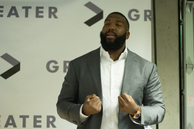 Seahawks lineman Russell Okung is the co-founder of Greater, a Seattle-based non-profit that helps mentor youth.