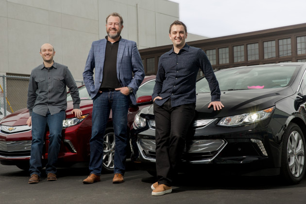 From left, Logan Green, chief executive of Lyft; Daniel Ammann, president of General Motors; and John Zimmer, president of Lyft. Photo via Lyft.