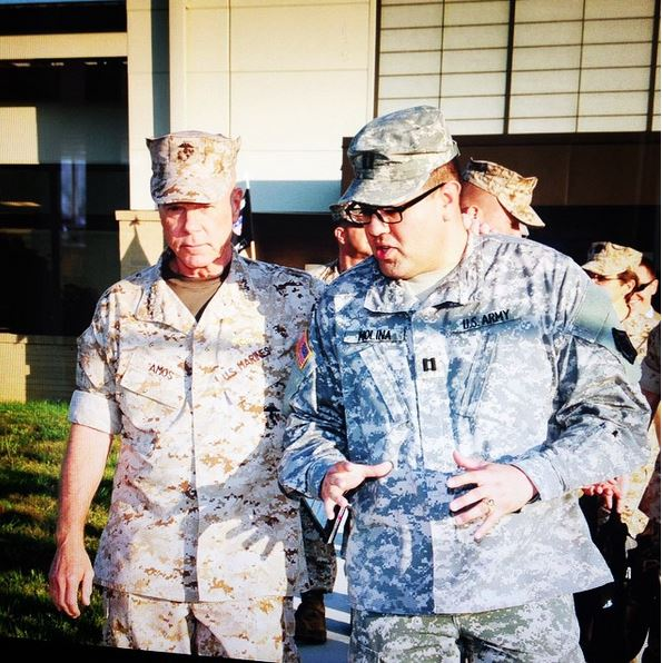 David Molina, right, when he served as a captain in the U.S. Army. Photo from David Molina.