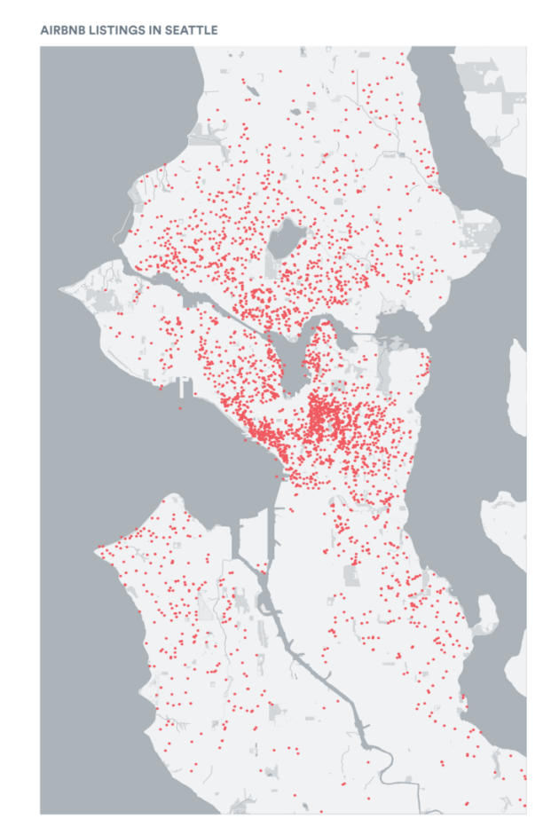 Airbnb locations in Seattle.