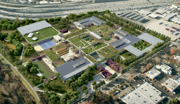 A digital rendering of Microsoft's proposed campus.