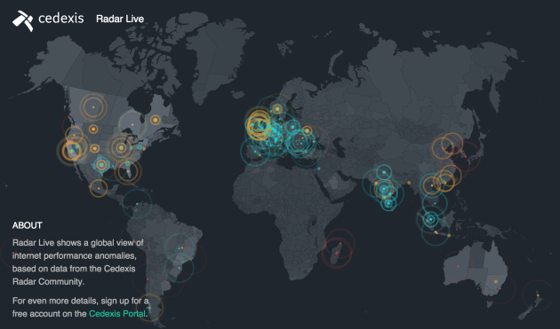 Cedexis' Radar Live shows a global view of internet performance anomalies.