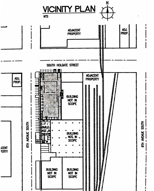 A blueprint shows the location of the project in gray. Source: City of Seattle Department of Planning & Development.