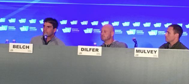Derek Belch, CEO of STRIVR, former quarterback Trent Dilfer, and Logan Mulvey, managing partner of STRIVR.