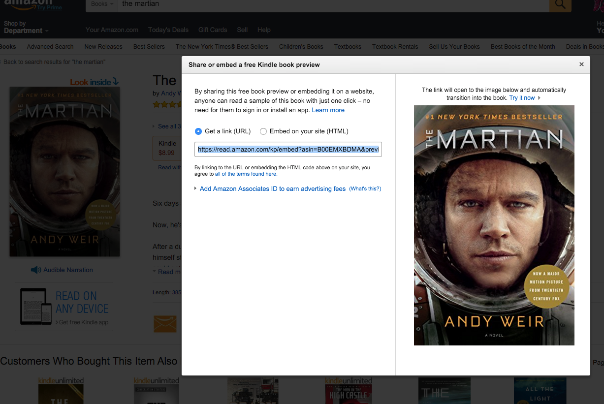 Embed a book? Amazon starts offering Kindle book previews for third