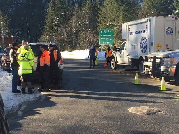 Search and rescue workers on the scene at Granite Mountain. Photo via King County Sheriff's Office