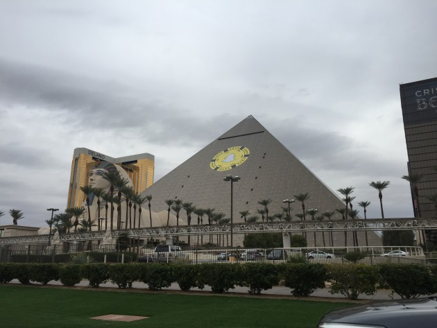 The Snapchat logo adorns the iconic Luxor hotel in Las Vegas