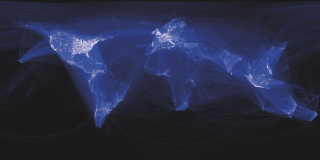 "Facebook visualization by Paul Butler, showing which cities have friendships between them. Butler used the data to create ""a surprisingly detailed map of the world—with lines that represented not coasts or rivers or political borders, but real human relationships."" Paul Butler / The Human Face of Big Data"
