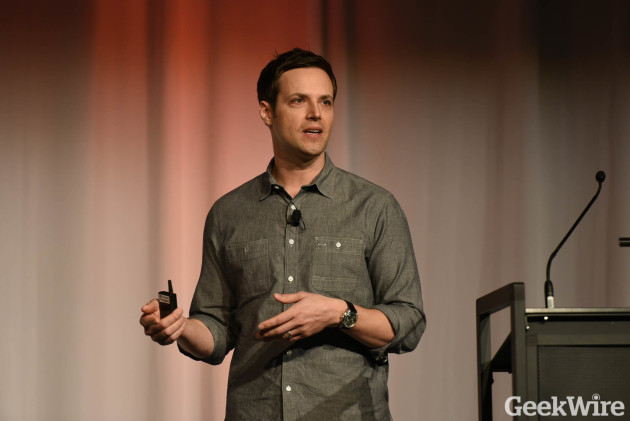 OfferUp CEO Nick Huzar speaks at GeekWire Startup Day.