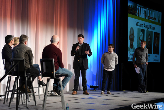 Brian Bosché and Dan Bloom of Slope pitch during GeekWire Startup Day.