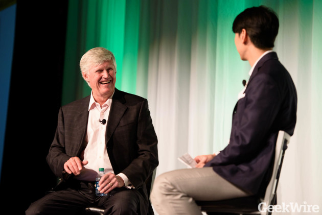 Wireless pioneer John Stanton on stage with Jonathan Sposato at GeekWire Startup Day today.