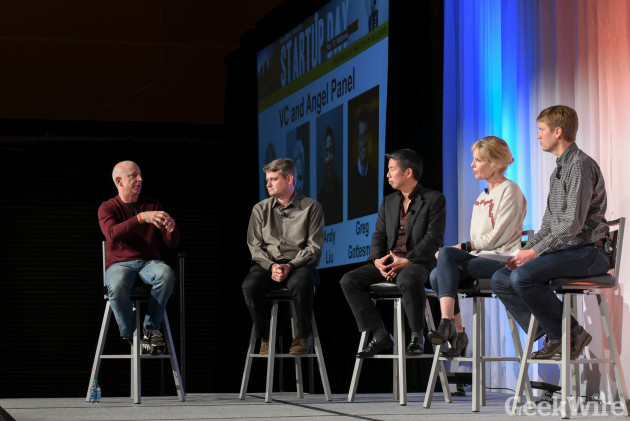 Sinofsky, Gottesman, Liu;, and Redman at GeekWire Startup Day 2016.