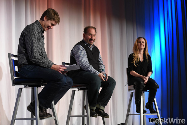 John Cook, Dean Graziano, and Kelsye Nelson at GeekWire Startup Day 2016.