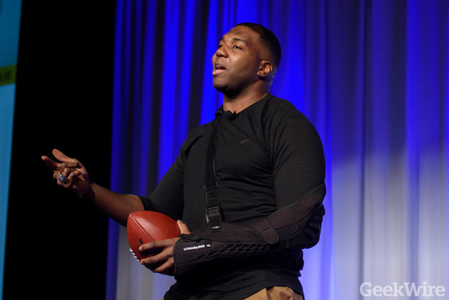 Russell Okung speaks at GeekWire Startup Day.