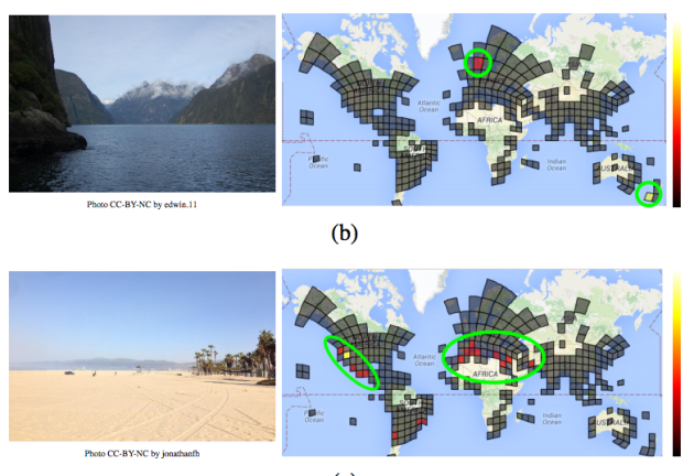 PlaNet's grip gets wider in less-populated areas, and isn't so helpful at placing images of sandy beaches (or is that a desert?). Image via arXiv