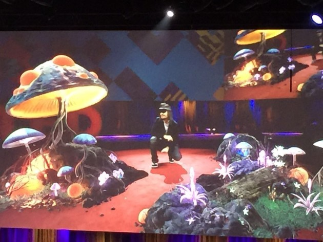 Kipman crouches in his magic mushroom field. Image via David Niu.