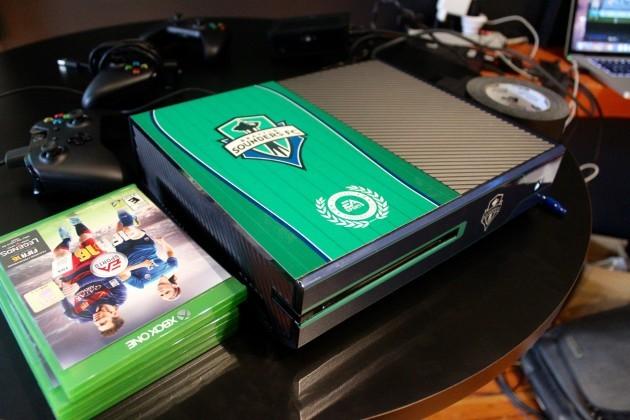 A custom Sounders Xbox One.