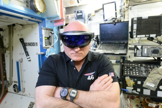 NASA astronaut Scott Kelly wearing a HoloLens headset on the International Space Station.