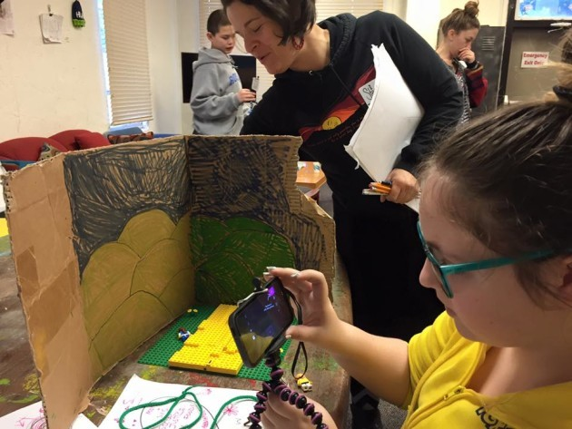 Students working on stop-motion animation video. Photo: Reel Grrls.