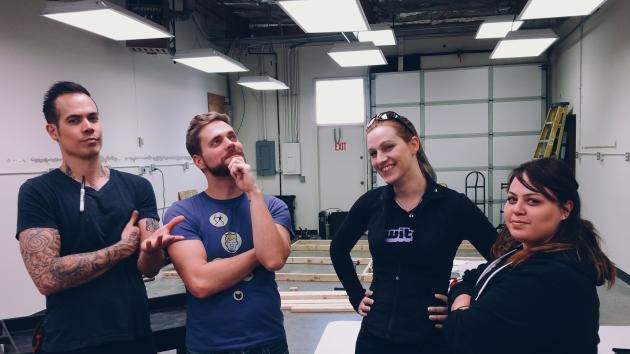Joe Held (Board Operator), Zac Eubank (CEO), Anna Cail (Programming Manager), Emily Gitelman (Community Manager). Photo from Hyper RPG!