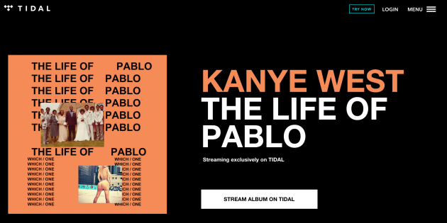 Tidal's homepage today.
