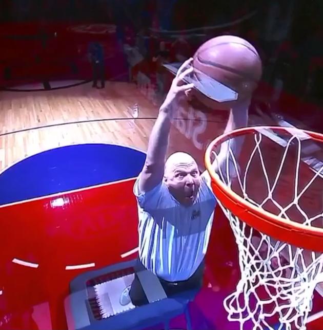 Steve Ballmer dunks at a recent Clippers game.