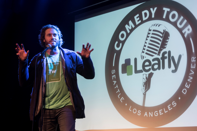 T.J. Miller performs at the first-ever Leafly Comedy Tour event in Seattle last month. Photo via Leafly.