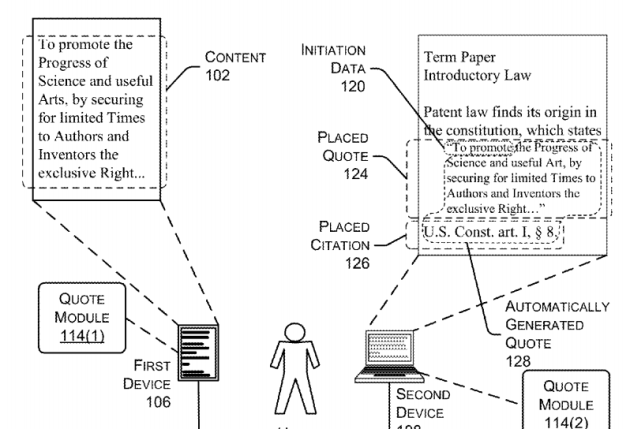 A portion of the patent, showing how Amazon would analyze ebooks read on one device for quotes being included on a second device.