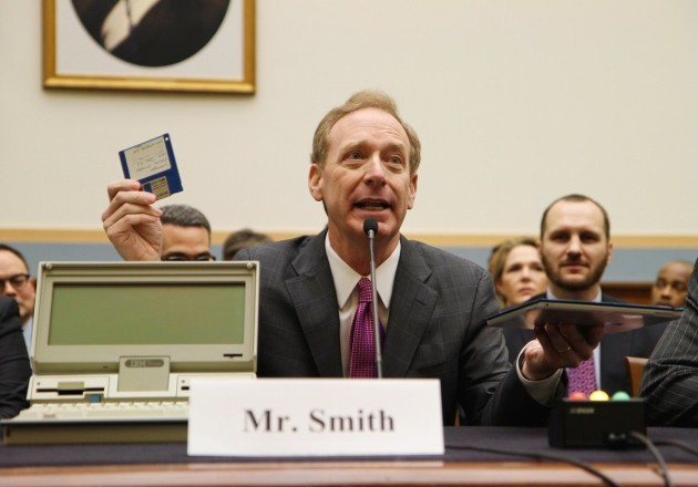 Brad Smith brought a 30-year-old laptop to the House Judiciary Committee to illustrate the outdated nature of the Electronic Communications Privacy Act. (Image via House Judiciary Committee/@HouseJudiciary)