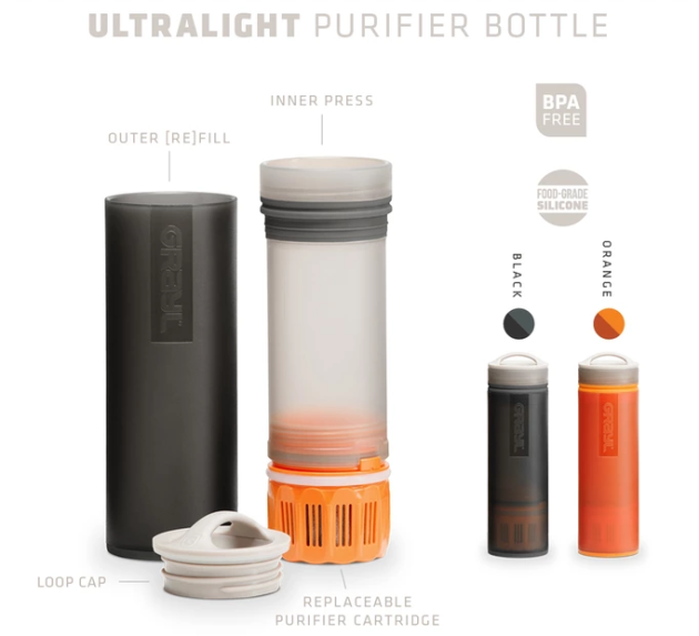 6d4ce7e5ef Grayl's Ultralight bottle comes in black or orange through its Kickstarter  campaign. (Grayl.