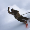 A screengrab of a video showing Nicolas Vuignier filming himself while skiing. (Via YouTube)