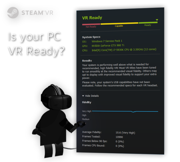 valve htc vive virtual reality test software