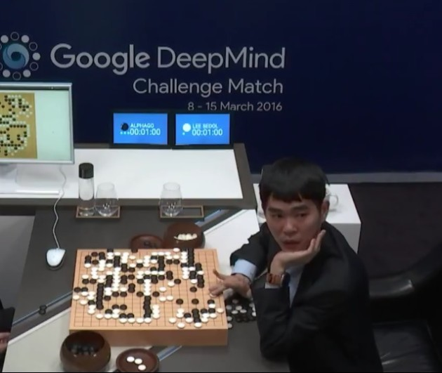 Lee Sedol at Go showdown with AlphaGo
