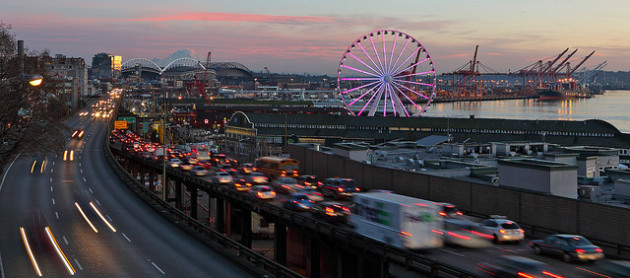 Traffic on Seattle's Highway 99 at rush hour. (Photo via Flickr/MarcBiarnes)