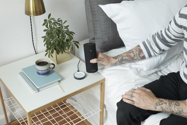 The Amazon Tap powers up on a svelte charging base. Image via Amazon.