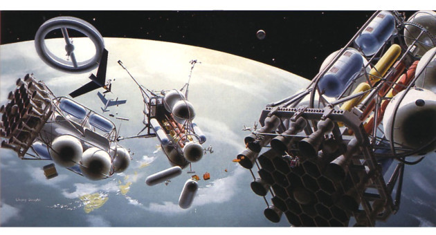 Space-suited workers assemble a two-passenger-ship and single-cargo-ship lunar expedition in Earth orbit, c. 1952 (Chesley Bonestell © Bonestell LLC).