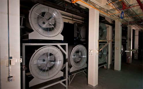 Hot air exhaust fans at the new Centeris data center outside of Seattle