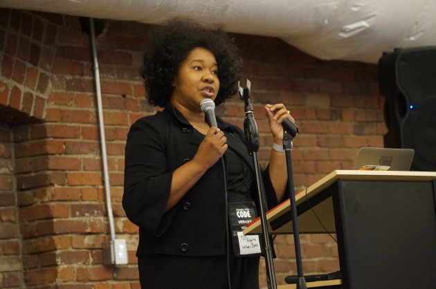 Facebook's head of security operations, Regina Wallace-Jones, speaks at Women Who Code's conference, Connect 2016.
