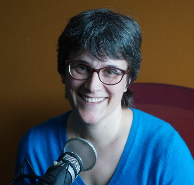 Elizabeth Walkup, senior software engineer at Tableau Software, recording an episode of the GeekWire podcast.