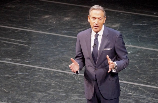Starbucks CEO Howard Schultz speaks at the company's shareholders meeting today. (GeekWire photo)