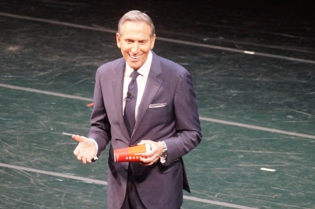 Starbucks CEO Howard Schultz speaks at the company's annual shareholders meeting in Seattle. (GeekWire File Photo)