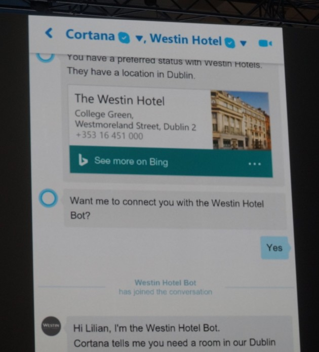 After confirming the location, Cortana brought in another bot to complete the hotel reservation.