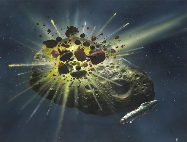 Chris Foss Asteroid Collision,1980.