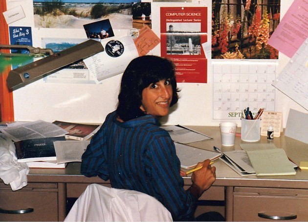 Alverson at her desk during graduate school in the late 1980s.