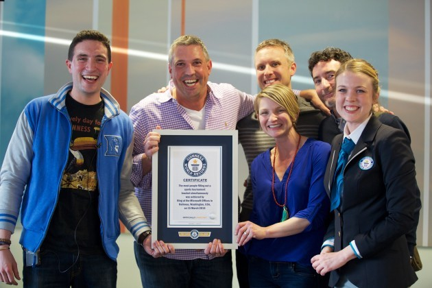 L-R: Steve Kane, Ryan Gavin, Brian Marble, Emily Pearce and Matthew Quinlan all from Bing Marketing with the Guiness World Record book adjudicator Sarah Casson