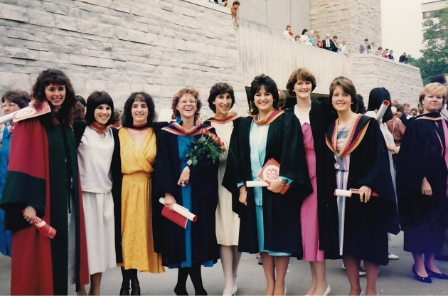 Gail Alverson, fifth from the left, photographed alongside her fellow computer science graduates at Queen's University in Ontario in the mid 1980s -- a heyday for shoulder pads and women earning tech degrees. Photo provided by Gail Alverson.