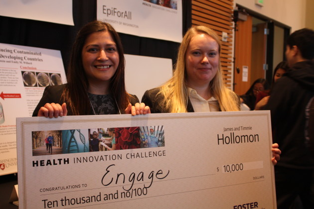 Emily Willard and [name], co-founders of Engage, took first place at the UW's first Health Innovation Challenge. Photo by Clare McGrane.