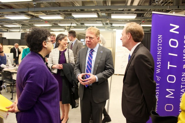 Seattle Mayor Ed Murray speaks with UW Ana Mari Cauce and Microsoft President Brad Smith.